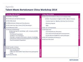 Agenda Talent Meets Bertelsmann China Workshop 2014