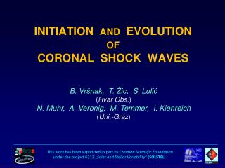 INITIATION AND  EVOLUTION OF CORONAL  SHOCK  WAVES