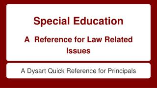 Special Education A Reference for Law Related Issues