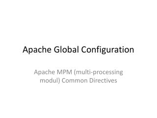 Apache Global Configuration