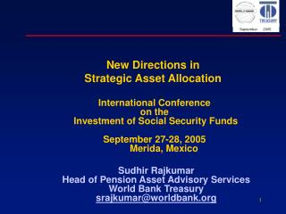 New Directions in  Strategic Asset Allocation