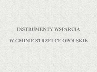 INSTRUMENTY WSPARCIA W GMINIE STRZELCE OPOLSKIE