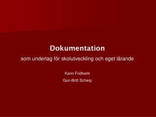 Dokumentation som underlag för skolutveckling och eget lärande Karin Fridholm Gun-Britt Scherp