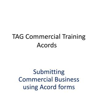 TAG Commercial Training  Acords