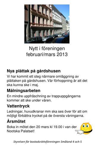 Nytt i föreningen februari/mars 2013