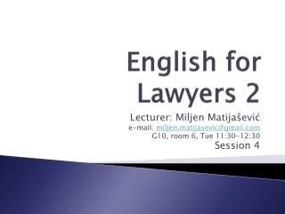 English for Lawyers 2