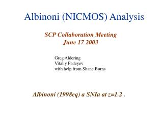 Albinoni (NICMOS) Analysis
