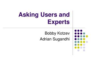 Asking Users and Experts