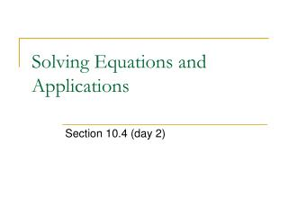Solving Equations and Applications