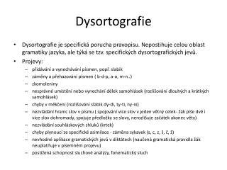 Dysortografie