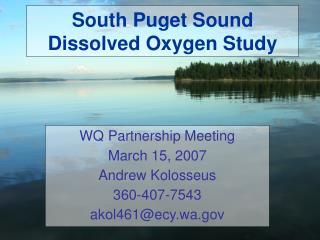 South Puget Sound Dissolved Oxygen Study