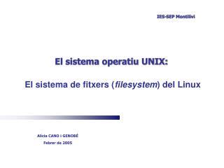 El sistema operatiu UNIX: El sistema de fitxers ( filesystem ) del Linux