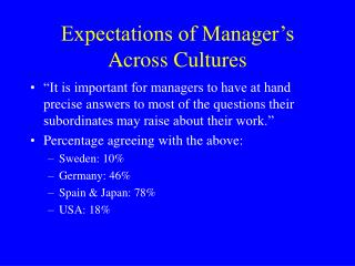Expectations of Manager's  Across Cultures