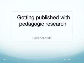 Getting published with pedagogic research