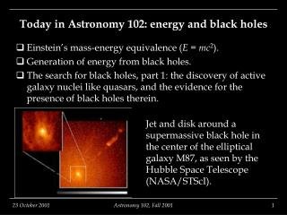 Today in Astronomy 102: energy and black holes