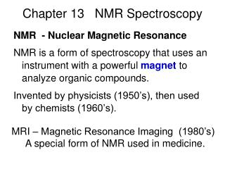 Chapter 13   NMR Spectroscopy