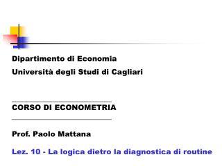 Dipartimento di Economia Universit� degli Studi di Cagliari ___________________________