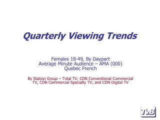 Females 18-49, By Daypart Average Minute Audience – AMA (000) Quebec French