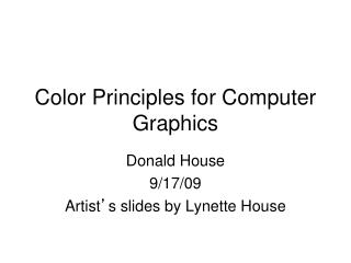 Color Principles for Computer Graphics