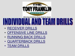 RECEIVER DRILLS OFFENSIVE LINE DRILLS RUNNING BACK DRILLS QUARTERBACK DRILLS  TEAM DRILLS