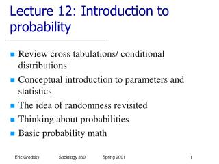 Lecture 12: Introduction to probability