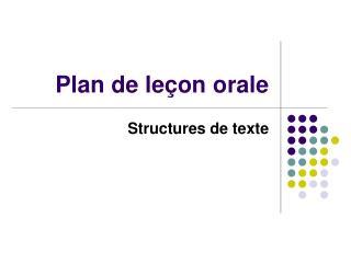 Plan de leçon orale