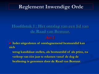 Reglement Inwendige Orde