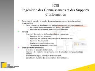 ICSI  Ing nierie des Connaissances et des Supports d Information