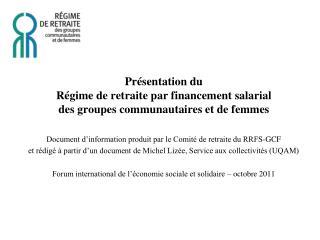 Document d'information produit par le Comité de retraite du RRFS-GCF