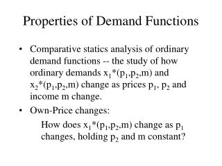 Properties of Demand Functions