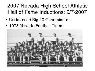 2007 Nevada High School Athletic Hall of Fame Inductions: 9/7/2007