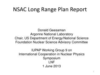 NSAC Long Range Plan Report