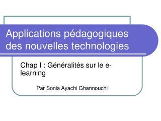 Applications pédagogiques des nouvelles technologies