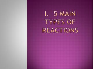 I.  5 Main Types of Reactions
