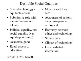 Desirable Social Qualities