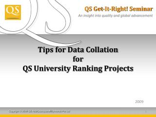 Tips for Data Collation for  QS University Ranking Projects
