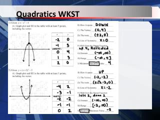 Quadratics WKST