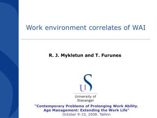 Work environment correlates of WAI