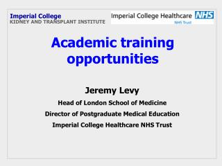 Academic training opportunities
