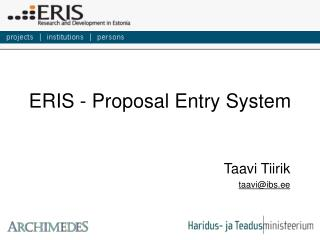 ERIS - Proposal Entry System