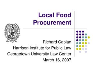 Local Food Procurement