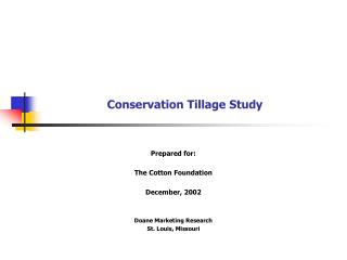 Conservation Tillage Study
