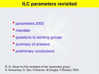 parameters 2003  mandate  questions to working groups  summary of answers