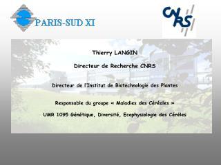 Thierry LANGIN Directeur de Recherche CNRS Directeur de l'Institut de Biotechnologie des Plantes