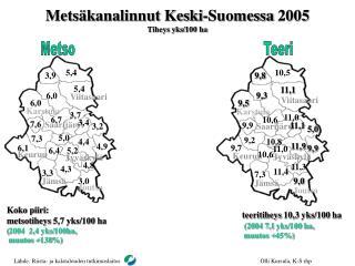 Metsäkanalinnut Keski-Suomessa 2005 T iheys yks/100 ha