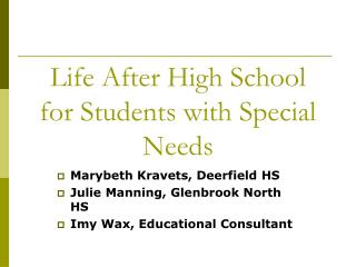 Life After High School for Students with Special Needs