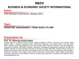 B&ESI BUSINESS & ECONOMIC SOCIETY INTERNATIONAL
