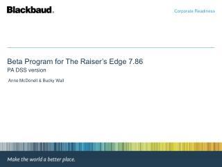 Beta Program for The Raiser's Edge 7.86