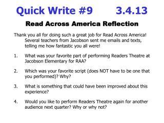 Quick Write #9      3.4.13