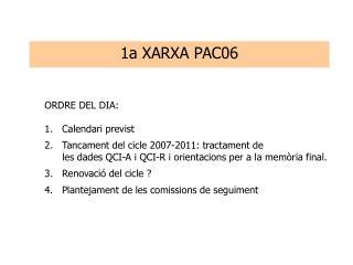 ORDRE DEL DIA: 1.   Calendari previst 2.   Tancament del cicle 2007-2011: tractament de